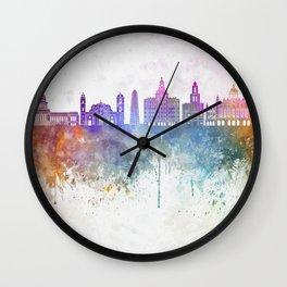 Havana V2  skyline in watercolor background Wall Clock
