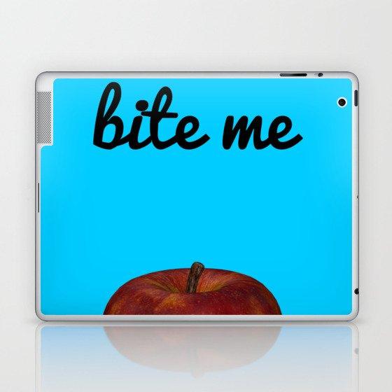 Bite Me - Blue Background Laptop & iPad Skin