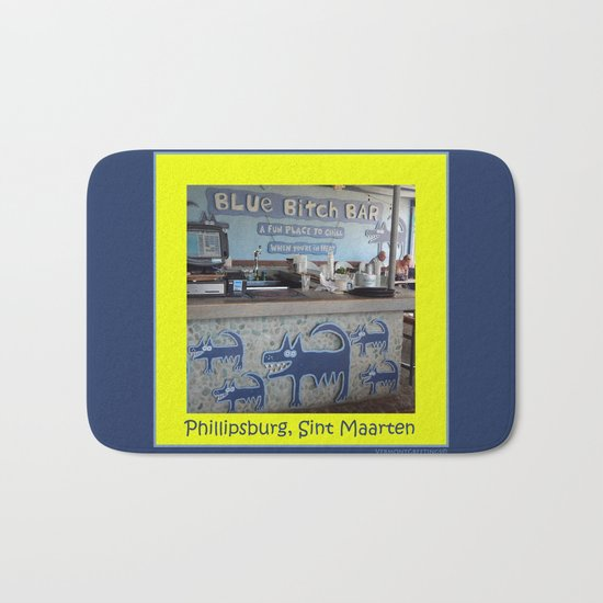 Blue Bitch Bar, St. Maartin Resort Travel Bath Mat