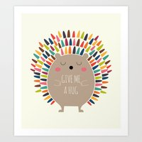 hug Art Prints featuring Give Me A Hug by Andy Westface