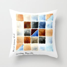 Color Chart - Burnt Sienna (W&N) and Cerulean Blue (DS) Throw Pillow