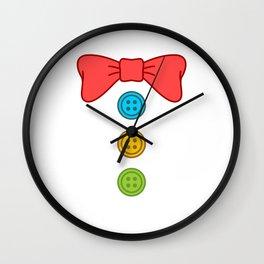 Clown Bow Tie Buttons Wall Clock