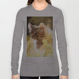 Kitty in a field on a warm spring day Long Sleeve T-shirt