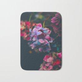 Beautiful Purple Blue Summer Hydrangea Dark Green Sensual Leaves Bath Mat