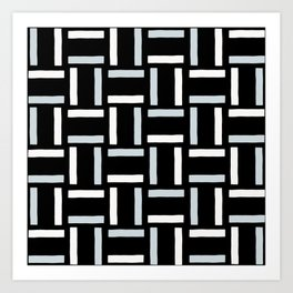 Stripe Line Weave Black Art Print
