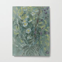 July Wildflowers, Meadow Flowers, Summer Floral, Grey Metal Print