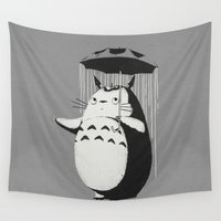 umbrella Wall Tapestries featuring Umbrella neighbor by Paula García