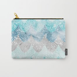 Light Aquamarine Mermaid Scales Waves Pattern Carry-All Pouch