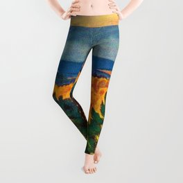 Across the Colorful Autumn Valley with Mountains by Rockwell Kent Leggings