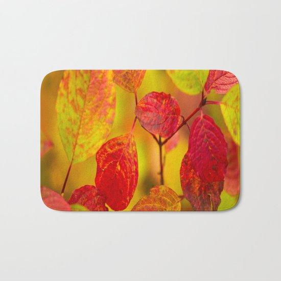 Red autumn leaves Bath Mat