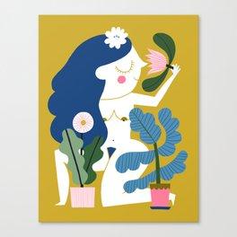 Blue Plant Lady Canvas Print