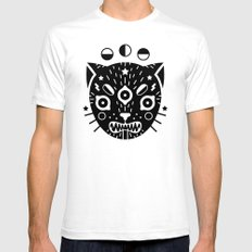 BLACK CAT White Mens Fitted Tee LARGE