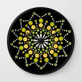 Dandelions on the Lawn Dot Mandala Wall Clock