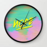 nope Wall Clocks featuring Nope by Janja Primozic