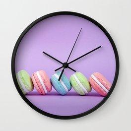Row of Macaron Cookies Wall Clock