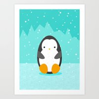 penguin Art Prints featuring Penguin by eDrawings38