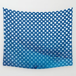 White polka dots and snorkel blue background with blur Wall Tapestry