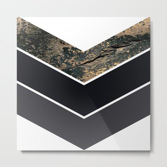 Scandinavian Gold Concrete Black Gray Geometric Pattern Metal Print