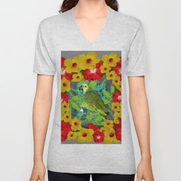 RED-YELLOW HIBISCUS & GREEN PARROT JUNGLE GRAY  ART n Unisex V-Neck