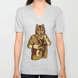 Sophisticated Wolf - having a drink Unisex V-Neck