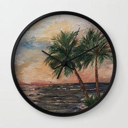 Beach Side  Oil on Canvas Wall Clock