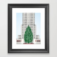 Special Edition Holiday Print: Rockefeller Center by the Downtown Doodler Framed Art Print