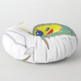 Yellow Bird Has Tea Floor Pillow