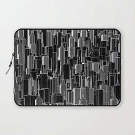 Tall city B&W inverted / Lineart city pattern Laptop Sleeve