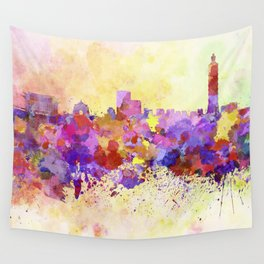 Taipei skyline in watercolor background Wall Tapestry