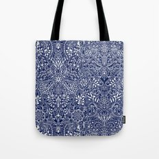 Detailed Floral Pattern in White on Navy Tote Bag