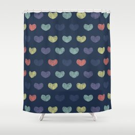 Colorful Cute Hearts Shower Curtain