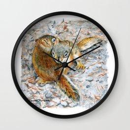 Siblings, baby red squirrels by Teresa Thompson Wall Clock
