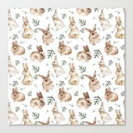 Bunnies and Leaves Canvas Print