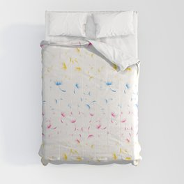 Dandelion Seeds Pansexual Pride (white background) Comforters