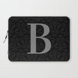 Modern Black Grey Damask Letter B Monogram Laptop Sleeve