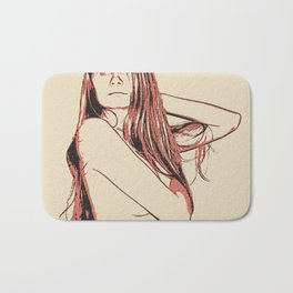 Glamour posing, sexy hidden nudity, long haired beautiful redhead, topless Bath Mat