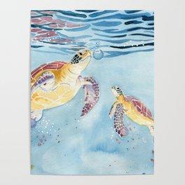 Take A Breath Sea Turtle Poster