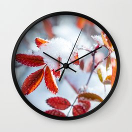 Snowy Fall Leaves // Frozen Fall Colors Wall Clock
