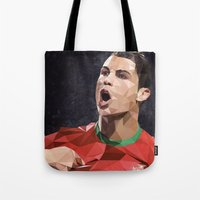 ronaldo Tote Bags featuring Cristiano Ronaldo CR7 by Trimm Illustrations