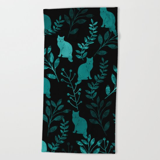 Watercolor Floral and Cat IV Beach Towel