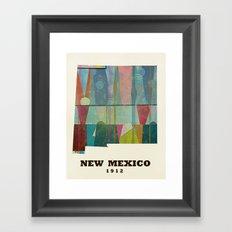 new mexico map modern Framed Art Print