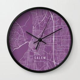 Salem Map, USA - Purple Wall Clock