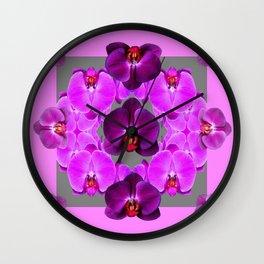 Dark Purple Moth  Orchids & Pink Orchids Art Wall Clock