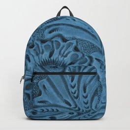 Cornflower Blue Tooled Leather Backpack