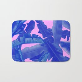 tropical banana leaves pattern,pink,blue Bath Mat