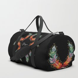 Hand Embroidery Tribal Rainbow Feather - Peace Duffle Bag