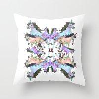 unicorns Throw Pillows featuring Unicorns by abbykaye