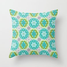 Geodome - Green Throw Pillow