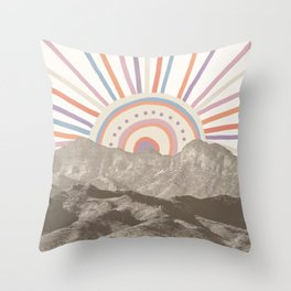 Summerlin Mountain Up // Abstract Vintage Mountains Summer Sun Surf Beach Vibe Drawing Happy Wall Ha Throw Pillow