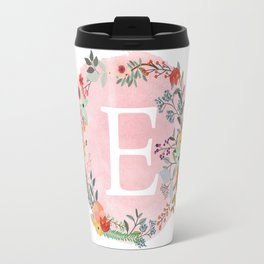 Flower Wreath with Personalized Monogram Initial Letter E on Pink Watercolor Paper Texture Artwork Travel Mug